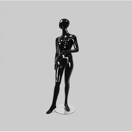 Maniquí mujer negro sin rasgos faciales