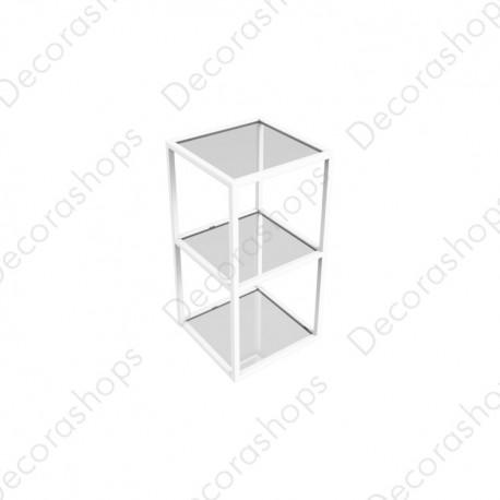 Estantería básica metálica  cristal 2 alturas