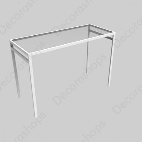 Mesa metálica básica pequeña tapa cristal