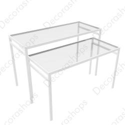 Conjunto mesas nido con tapa de cristal