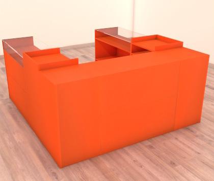 mostrador en forma de U naranja